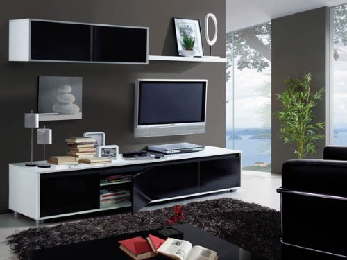 Habitdesign – mueble de comedor moderno tv, color blanco y negro ...