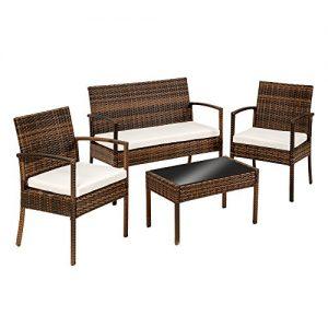 TecTake-Conjunto-muebles-de-Jardn-en-Poly-Ratan-Sintetico-negro-4-plazas-2-sillones-1-mesa-baja-1-banco-disponible-en-diferentes-colores-NegroMarrn-0