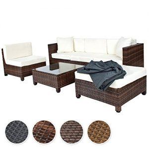 TecTake-Conjunto-muebles-de-Jardn-en-Poly-Ratn-Aluminio-NegroMarrn-mixed-0
